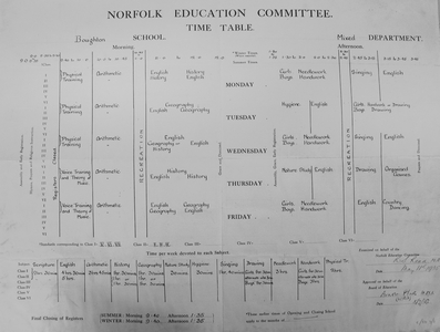 The School Timetable 1937