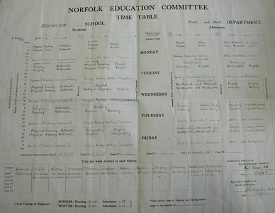 The School Timetable 1945